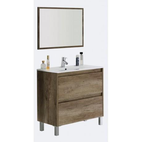 Conjunto con lavabo, espejo y mueble auxiliar Nogal