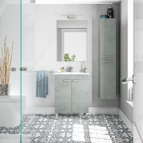 Mueble Lavabo 2 puertas Blanco, Lavabo y Espejo