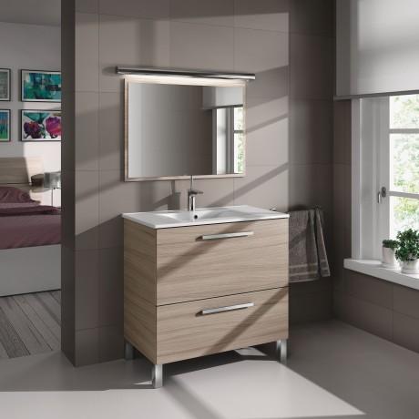 Mueble Lavabo 1 puerta abatible y 1 cajón, Lavabo y Espejo color natural