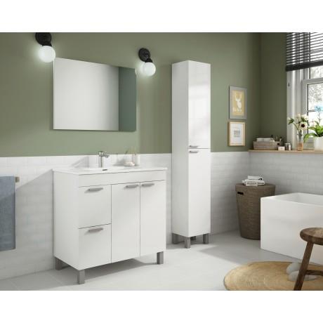 Conjunto con lavabo, espejo y mueble auxiliar