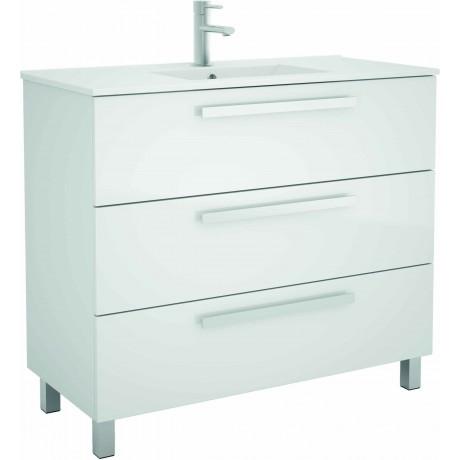 Mueble de baño en Blanco y lavabo Chrome  de 100 cm